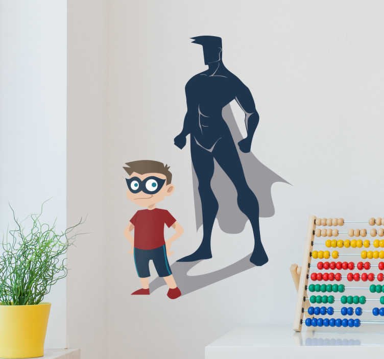 TenStickers. Kid super hero superhero sticker. Decorate the your kids bedroom with this magnificent kids wall sticker of the figure of a boy with the shadow in the shape of a superhero.