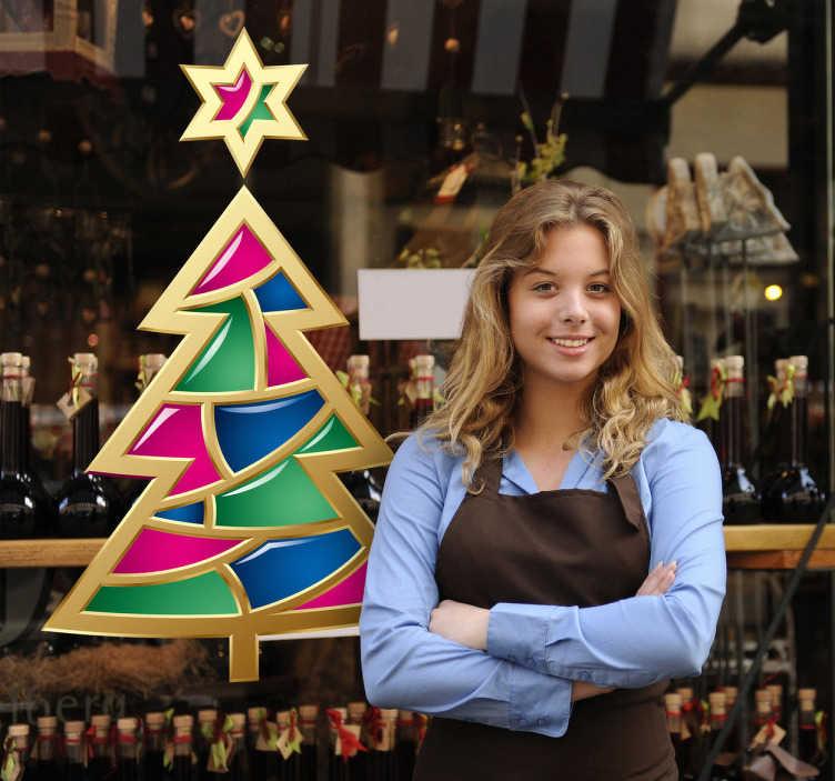 TenStickers. Naklejka dekoracyjna drzewko świąteczne. Naklejka dekoracyjna przedstawiająca kolorowe drzewko świąteczne, którym możesz udekorować Swój dom lub firmę.