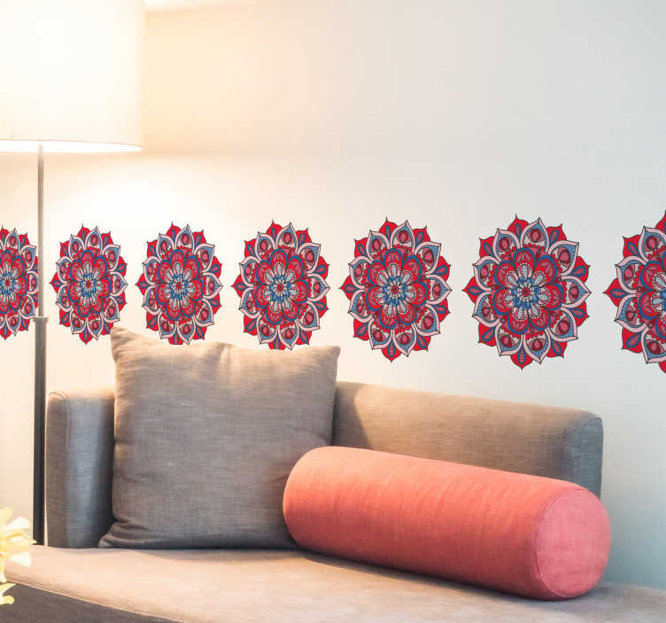 TenVinilo. Vinilo cenefa mandala flor de loto. Vinilos cenefas con el dibujo de un típico elemento hindú en tonos rojos, escoge el tamaño que requieras y renueva el aspecto de tu salón.