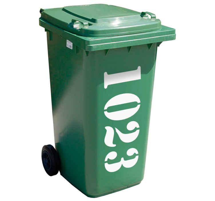TenStickers. Maßgeschneideter Mülltonnenaufkleber Hausnummer. Personalisieren Sie Ihre Mülltonne mit unserem Mülltonenaufkleber. Bestimmen Sie die gewünschte Nummer des Mülltonnen Stickers einfach selbst.