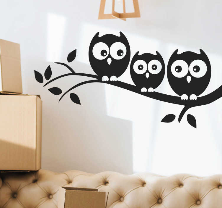 TenStickers. Owls on the branch bird sticker. Decorative owls on tree branch wall sticker for home space. It is easy to apply and available in different colours and size options.