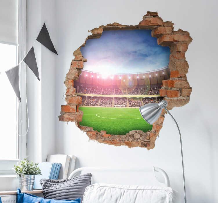 TenStickers. Naklejka ścienna boisko 3d. Naklejka ścienna z ilustracją boiska piłkarskiego z efektem 3d. Na naklejcę znajduję się boisko piłkarskie które widać przez dziurę w ścianię, efekt 3d Naklejka dla młodych fanów piłki nożnej, świetnie prezentować będzie się w pokoju dziecka.