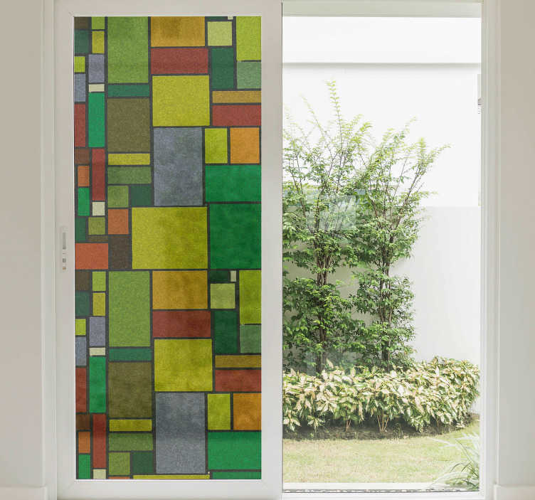 TenVinilo. Vinilo decorativo vidriera geométrica. Vinilos para cristales con una textura de formas rectangulares de colores con las que podrás personalizar la decoración de las ventanas de casa.