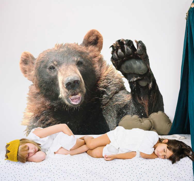 TenStickers. Autocolantes para casa urso. Vinil com animais selvagens ideal para colar nas suas paredes e dar um toque mais selvagem. Tal como os ursos, bastante resistente.