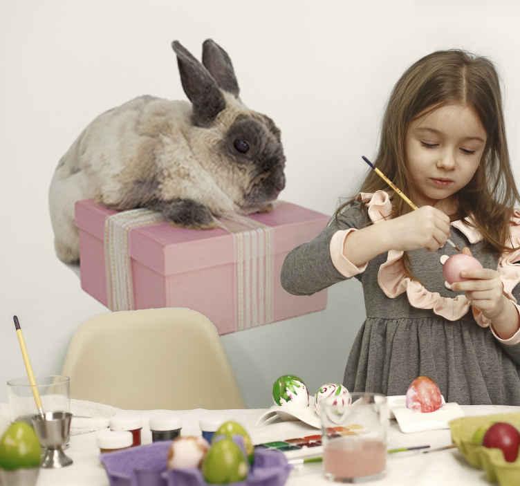TENSTICKERS. ウサギとギフトファーム動物デカール. 子供の寝室の装飾的な動物の壁のステッカーギフトボックスが存在するウサギのデザインです。必要なサイズでご利用いただけます。
