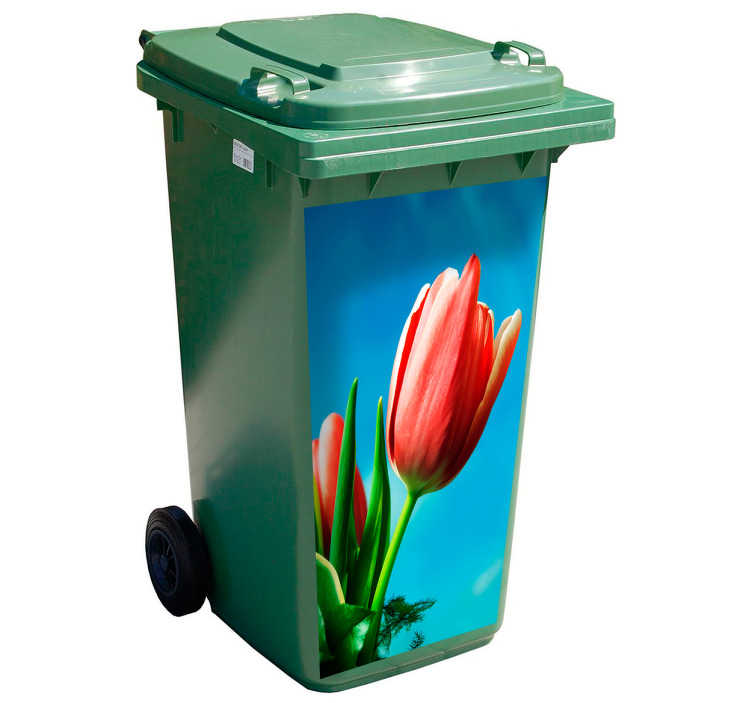 TenStickers. Mülltonnenaufkleber Tulpe. Gestalten Sie Ihre Abfalltonne mit einem wunderschönen roten Tulpen Design. Sie können die Maße des Tulpen Mülltonnenaufklebers individuell auswählen.