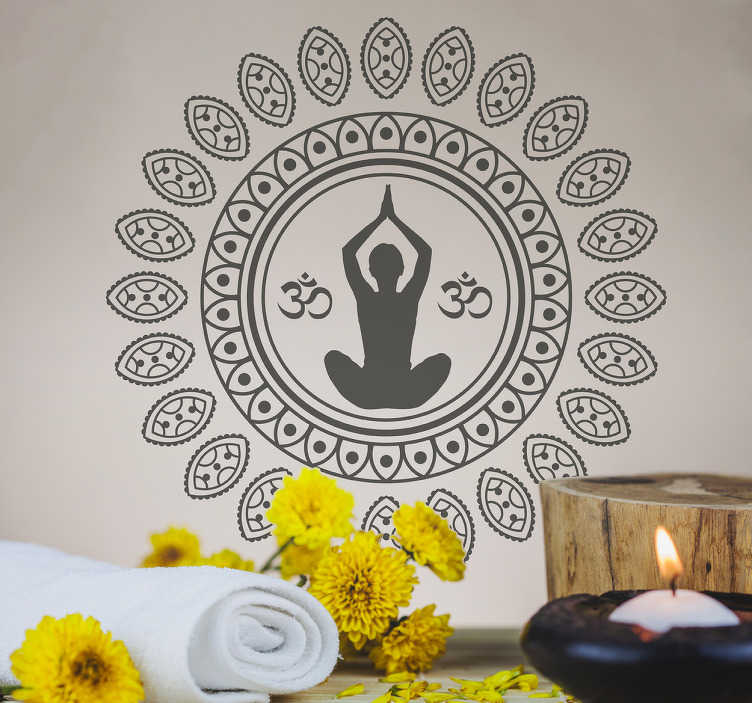 TenVinilo. Vinilo Mándala Yoga. Vinilos decorativos Yoga con un elegante dibujo ornamental de inspiración hindú y el perfil de una persona en el centro realizando Yoga.