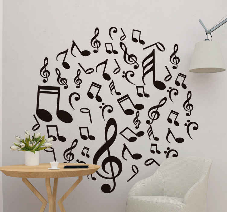 TenStickers. Music notes musical sticker. Magnificent classical music wall sticker for music lovers and musicians to be able to decorate their walls in an original way.