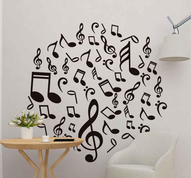 Autocolante decorativo estilo musical