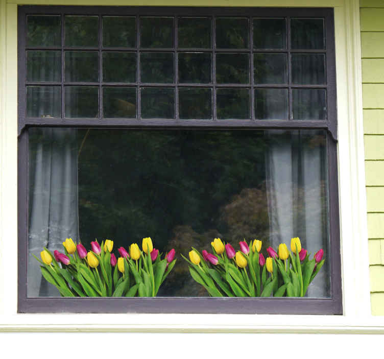 TenStickers. Raamfolie tulpen. Vrolijk uw raam op met raamdecoratie in de vorm van stickers. De raamsticker met bloemen zorgt voor een hele andere uitkijk.