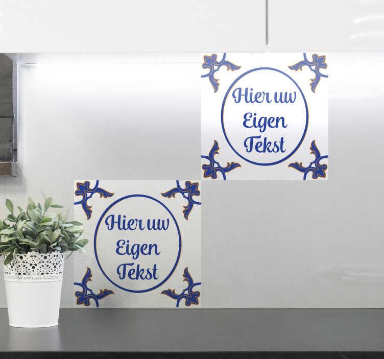 TenStickers. Delfts Blauw tegelsticker personaliseerbaar. Nu kunt u zelf een muursticker tegel creëren met een eigen tekst. Als u graag uw eigen gezegdes of grappige uitspraken op een delfts blauw tegeltje wil kan dat!