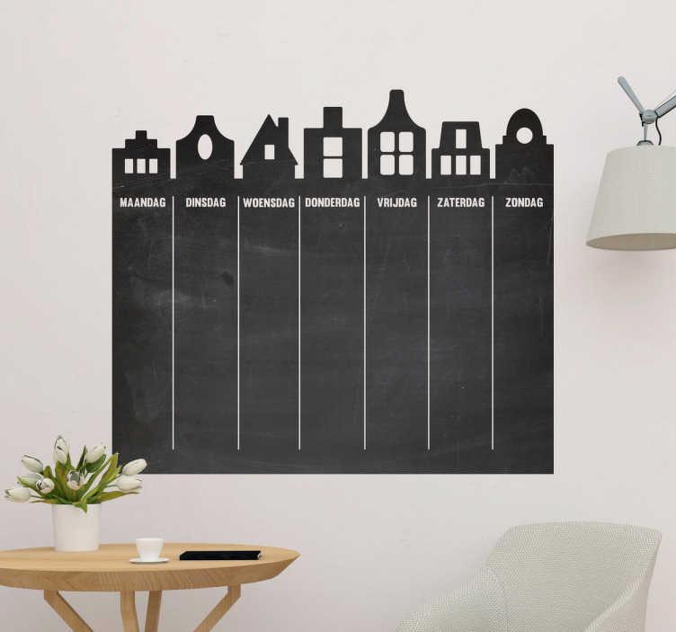 TenStickers. Weekplannerkrijtbord sticker huisjes. Vergeet nooit meer de kinderen op te halen met deze krijtbord weekplanner. Deze muursticker geeft een leuke georganiseerde touch aan uw huis.