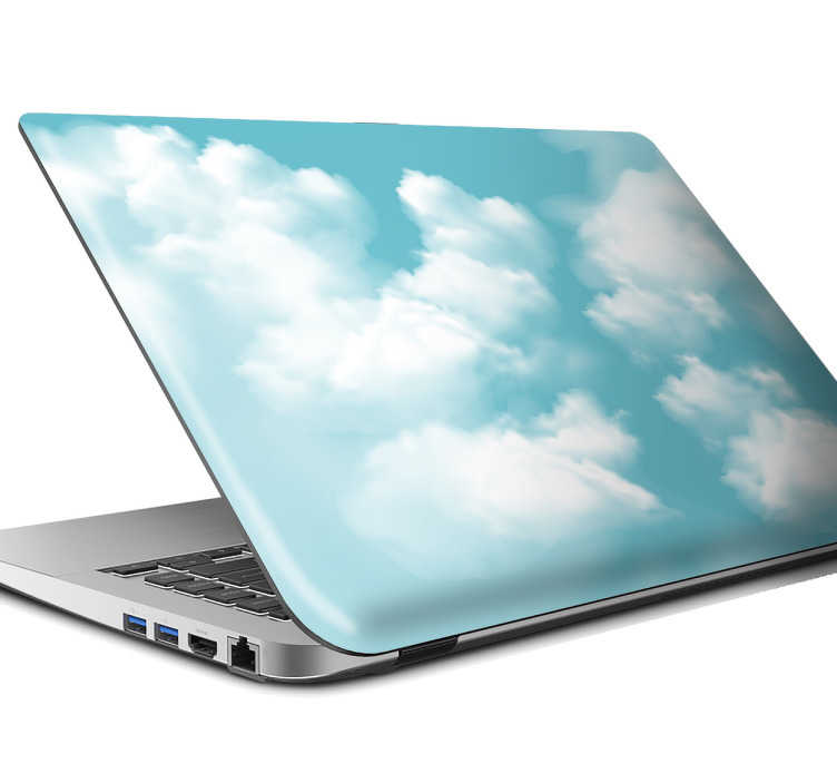 TenStickers. Naklejka na laptopa z motywem puszystych chmur. Naklejka na laptopa z motywem puszystych chmurek na tle błękitnego nieba. Ta niezwykła ozdoba całkowicie odmieni wygląd Twojego laptopa!