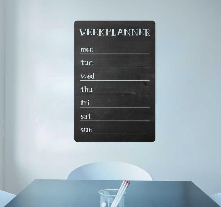 TenStickers. Tablica kredowa na ścianę plan tygodnia. Naklejka tablica kredowa, dzięki której nie zapomnisz o żadnym spotkaniu czy zadaniu na dany dzień tygodnia. Ta naklejka na ścianę nie tylko ozdobi Twój dom, ale będzie również bardzo użyteczna dla całej rodziny!