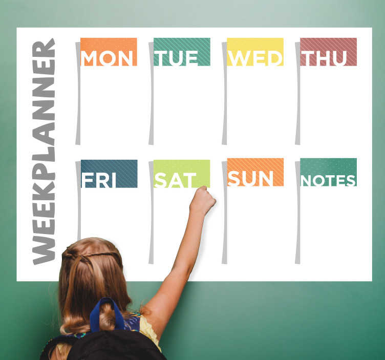 TenStickers. Whiteboard weekplanner kind. Met deze whiteboard weekplanner sticker leren kinderen zelf plannen. Deze muursticker met whiteboard en kleuren is gemakkelijk te gebruiken.