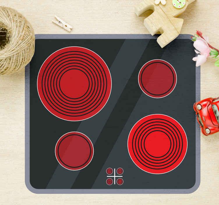 TenVinilo. Vinilo vitrocerámica cocina. Pegatinas infantiles, con una reproducción de un placa de inducción ideal para colocar sobre la cocina de juguete de los más pequeños de casa.