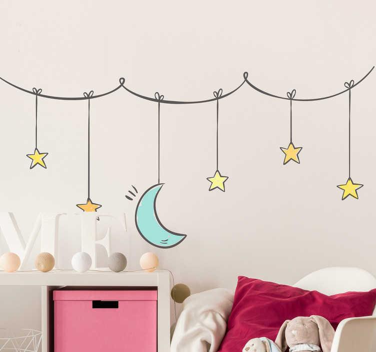 TenStickers. Naklejka na ścianę gwiazdki i księżyc zawieszone na sznurku. Naklejka na ścianę do pokoju dziecięcego, przedstawiająca gwiazdki i księżyc zawieszone na sznurku. Twoje dziecko pokocha ten wzór!