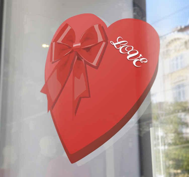 TenStickers. 情人节盒子心墙贴. 我们独家收集的心形贴纸上的精美心形窗户贴花,可装饰您的房屋或商店的前窗!