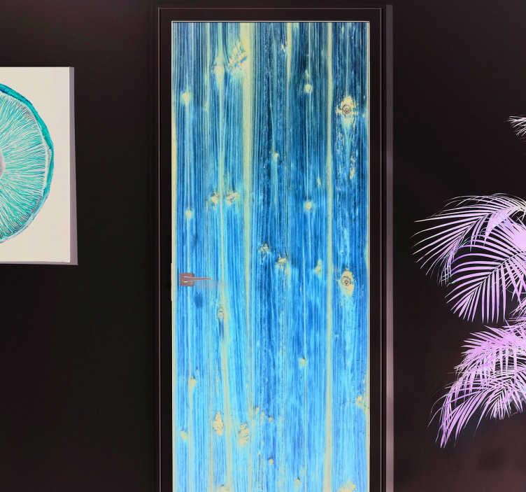 TenStickers. Autocolante decorativo porta madeira. Este autocolante decorativo ilustra uma forma divertida de recordar no passado, na forma como a madeira era o principal recurso de construção.