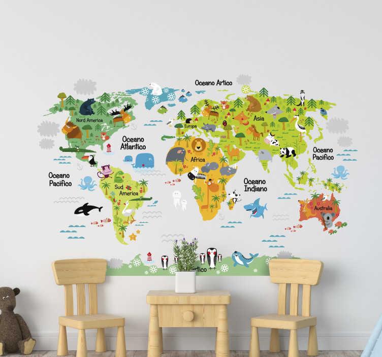TenStickers. Adesivo da parete animali mappa mondo. Decorare la stanza dei bambini con questa mappa del mondo adesivo muro colorato con nomi e animali.