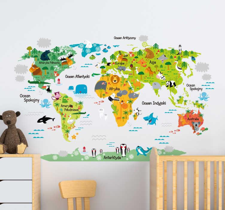 TenStickers. Naklejka dekoracyjna kolorowa mapa świata. Naklejka winylowa z kolorową mapa świata dla dzieci na której znadują się ciekawe ilustracje ze zwierzętami które żyją na różnych kontynentach.