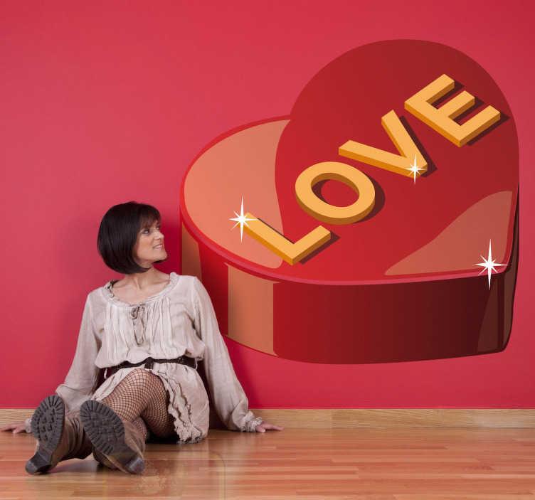 TenStickers. Naklejka błyszczące czekoladki. Naklejka ozdobna przedstawiająca wielkie, błyszczące, czerwone pudełko czekoladek z napisem 'love'. Idealna dekoracja na czas Walentynek.