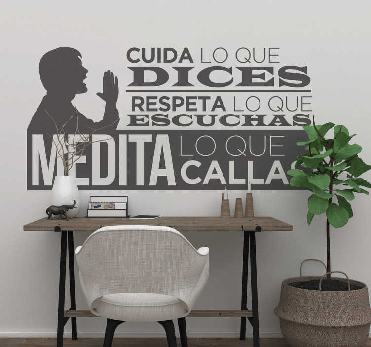 TenStickers. Win learn caring respects meditate motivational wall decal. Decorative motivational text wall sticker designed to decorate the home or office space. It is available in different colours and size options.