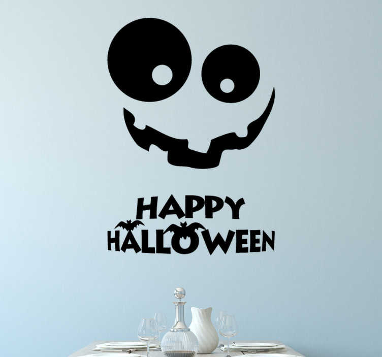 TenStickers. Sticker citrouille Halloween. Stickers représentant un dessin de citrouille.Adhésif applicable aussi bien dans un salon ou sur une vitrine de magasin à l'approche de la fête de Halloween.