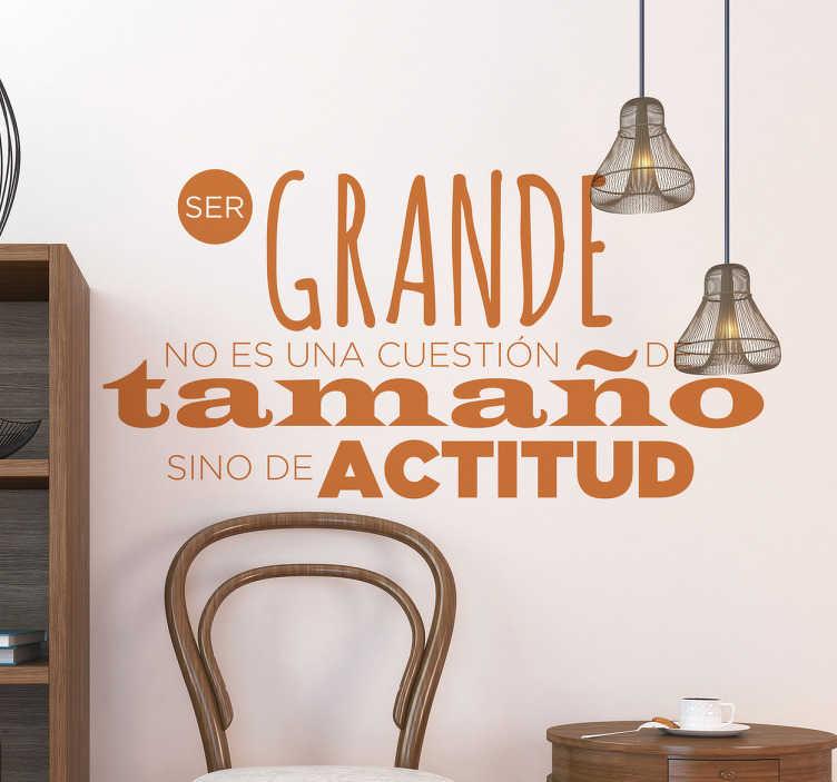 TenVinilo. Vinilos frases motivadoras actitud. Vinilos de textos motivacionales con un diseño tipográfico que encajará en las paredes de tu casa o en una oficina.