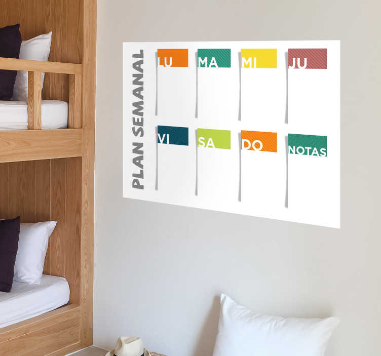 TenStickers. Weekly plan sticker to write on decal. Weekly plan write on decal to decorate the home and office space to write plans and schedule. It is available in any desired size.