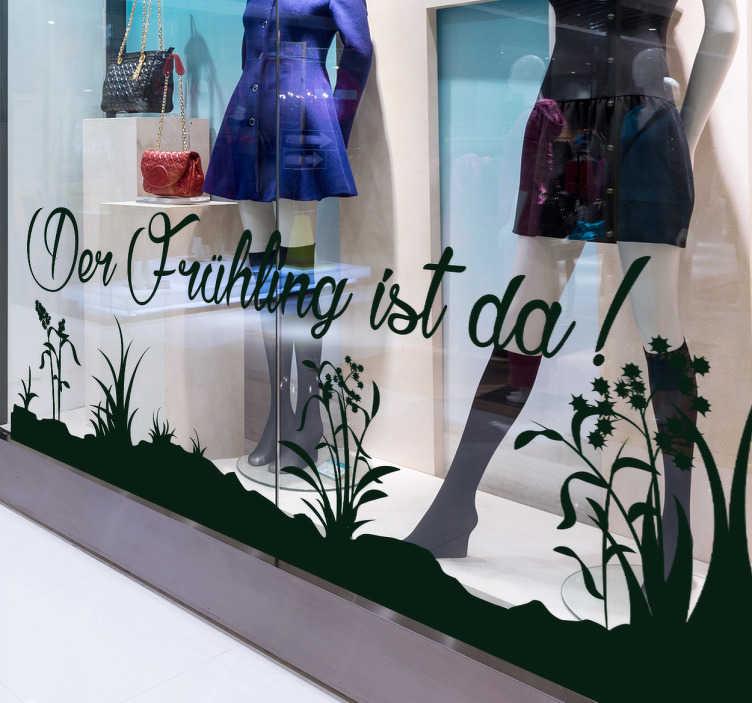 TenStickers. Schaufensteraufkleber Der Frühling ist da. Der Frühling ist da! Machen Sie Ihre Kunden mit diesemSchaufensteraufkleberauf Ihre neuesteFrühlingsmodeaufmerksamund verzieren Sie Ihren Laden.