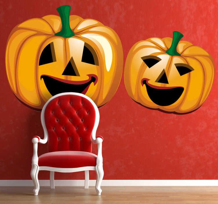 TenStickers. Sticker halloween pompoenen. Een leuke muursticker van 2 uitgeholde oranje pompoenen. Een leuk idee voor de muren in uw woonkamer of voor de etalages van uw winkel!