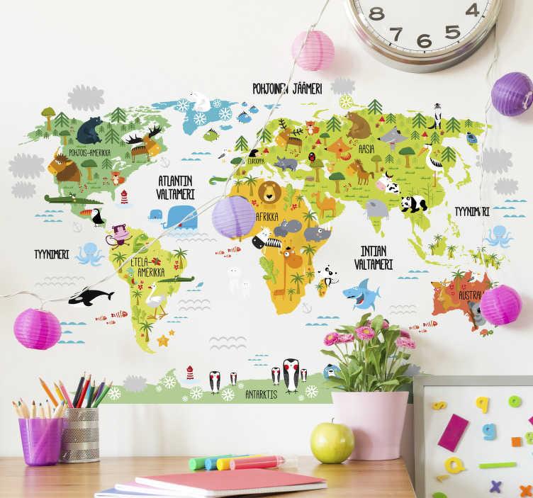 Tenstickers. Lasten seinätarra maailmankartta seinälle. Lasten seinätarra maailmankartta seinälle. Tässä värikkäässä maailmankartassa on maanosien ja valtamerien nimet suomeksi.