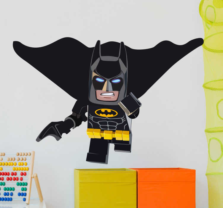 TenStickers. Vinil decorativo Batman lego. Decore as paredes do quarto do seu filho com este vinil decorativo do super-herói que tanto encanta as crianças como ainda adultos, o Batman.