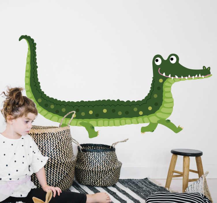 TenStickers. Naklejka na ścianę przyjazny aligator. Naklejka dla dzieci, przedstawiająca zabawny obrazek przyjaznego gada - aligatora. Ta wyjątkowa naklejka na ścianę do pokoju dziecięcego ożywi całe pomieszczenie!