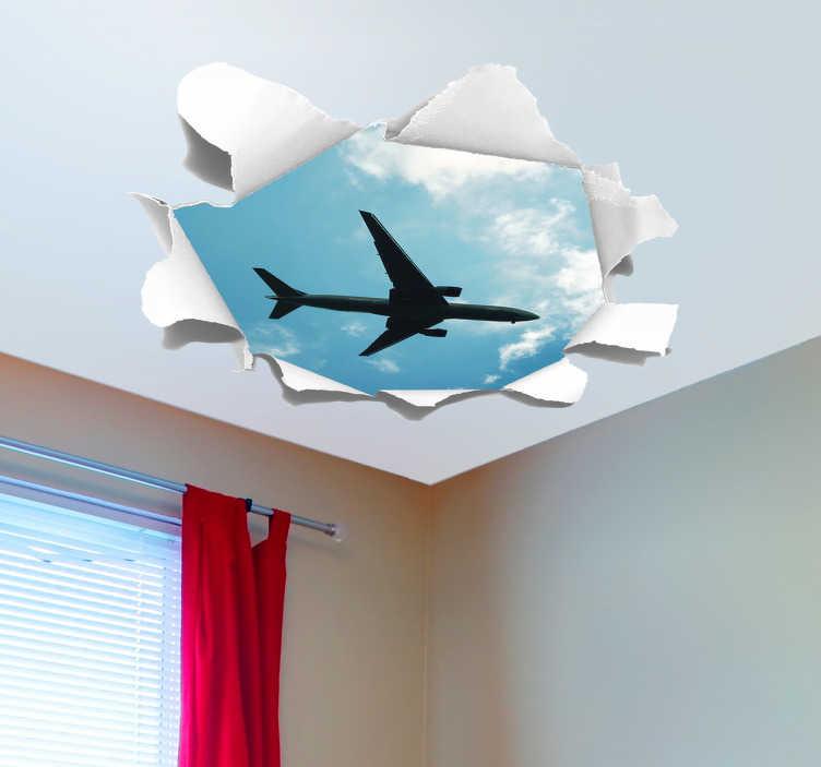 TenStickers. Naklejka na sufit samolot. Naklejka na sufit samolot, przedstawia samolot pasażerski szybujący w chmurach, który widąc przez dziurę w suficie. Zabawna dekoracja pokoju dziecka.