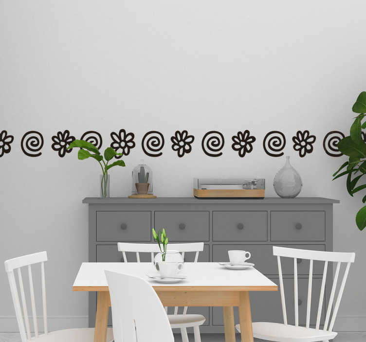 TenStickers. Spirals and flowers border sticker. Amazing border wall sticker with a pattern of flowers and spirals perfect for your living room. Available in 50 different colors.