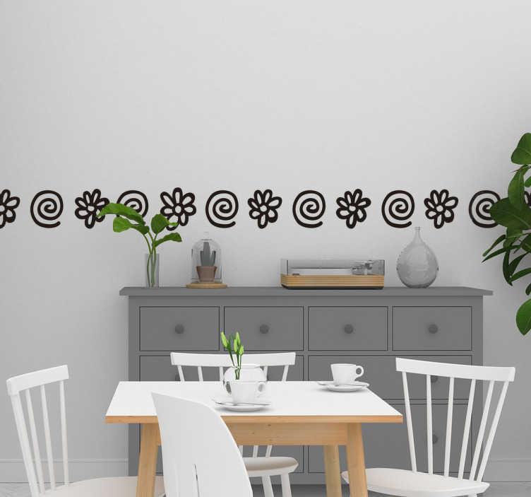 TenStickers. Sierrand bloemen en spiralen. Breng een leuk detail aan in de kamer met deze simpele sierrand met bloemen en spiralen. Het simpele patroon resulteert in een subtiele decoratie die op veel plekken past.