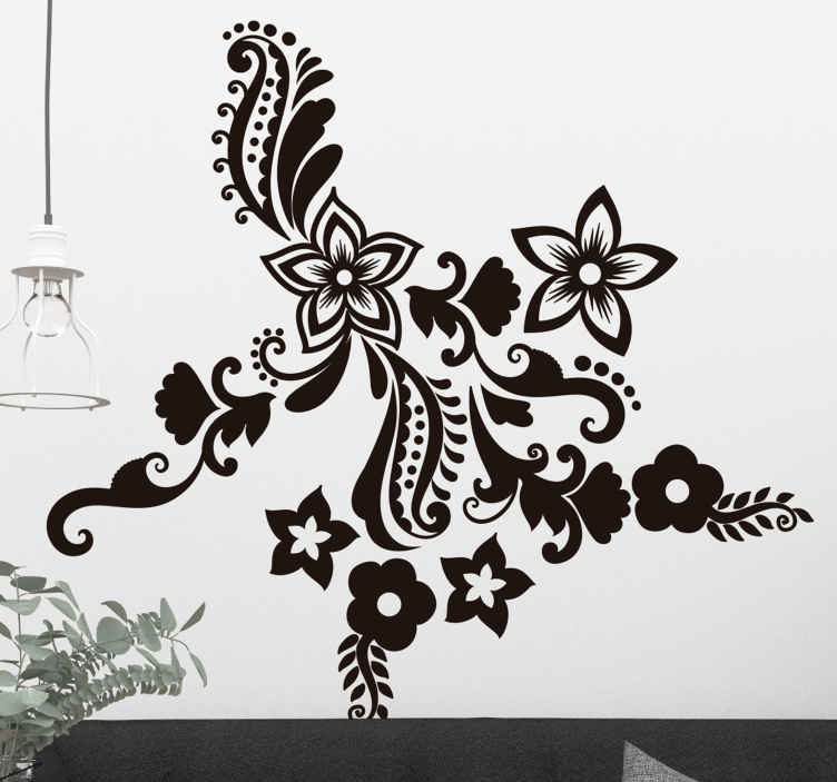 TenStickers. Flowers and spirals floral wall decal. Decorate the walls of your rooms with this flower wall sticker in order to renew the walls of your room with this flower and spiral illustration.