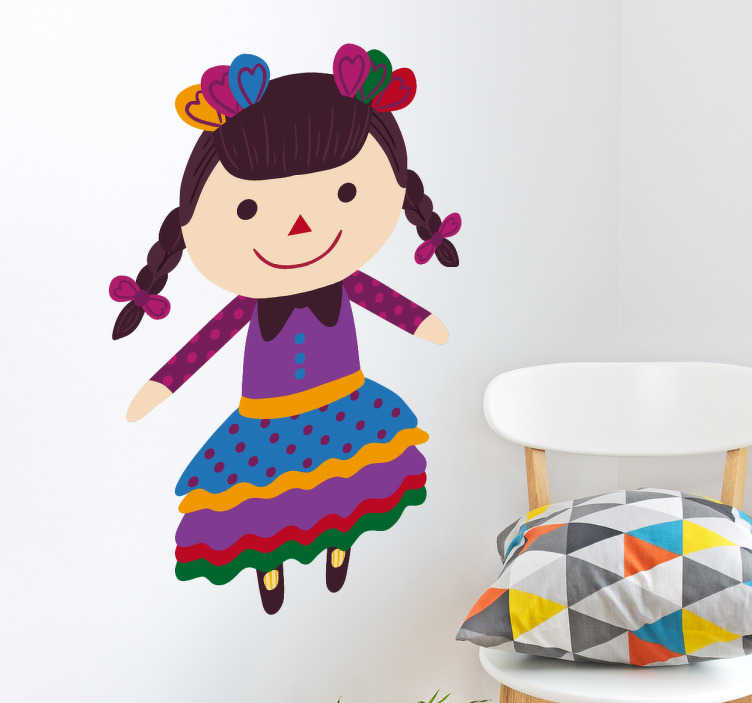 TenVinilo. Vinil infantil muñeca María. Pegatinas de la popular muñeca María mexicana, práctica artesanal convertida en tradición que se realiza desde hace siglos.