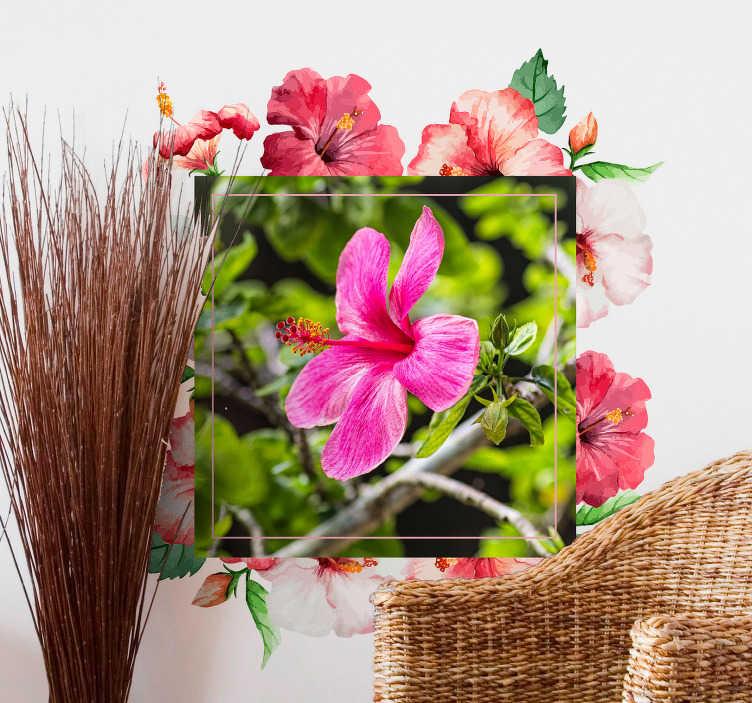 TenVinilo. Vinilo pared marco floral foto personalizada. Colorido marco de flores en vinilo adhesivo cuya foto principal podrás personalizar con la imagen de tu mascota, tu familia, recuerdos de un viaje.