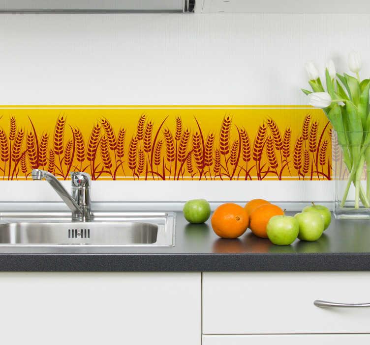 TenStickers. Naklejka na ścianę z motywem pola pszenicy. Naklejki na ścianę z oryginalnym motywem pola pszenicy na jasnym, pomarańczowym tle. Dekoracja idealna na ściany do kuchni!