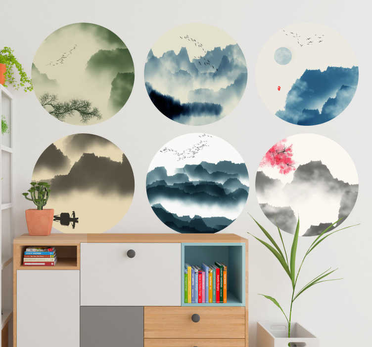 TenStickers. Mountains and trees nature wall decal. Mountains and trees nature wall decal to decorate the home and office space. It is easy to apply and self adhesive. Buy it in any size required.