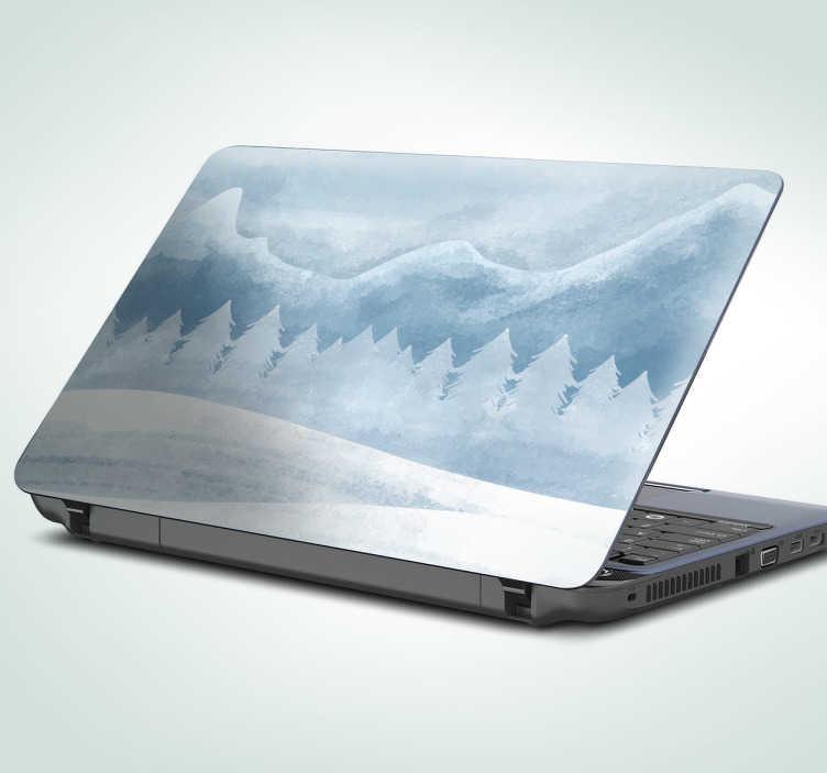 TenVinilo. Vinilo para portátil montañas nevadas. Adhesivos para ordenador con un bucólico paisaje nevado invernal, ideal para personalizar a tu gusto tu laptop.