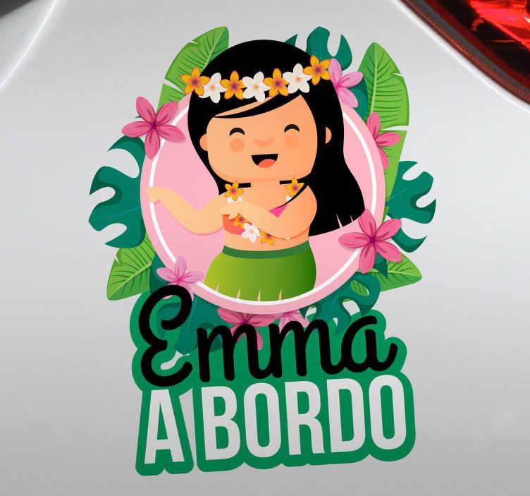 TenStickers. Autocolante bebé a bordo Hawaiana. Decore o seu veículo com este autocolante para carro bebé a bordo estilo hawaiana personalizada, que ilustra uma menina adorável do hawai.