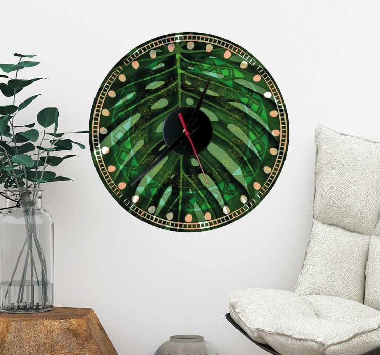 TenStickers. Naklejka-zegar w tropikalne liście. Naklejka w kształcie zegara, wypełnionego tropikalnymi liśćmi. Naklejka ścienna, która doda trochę egzotyki do Twojego domu!