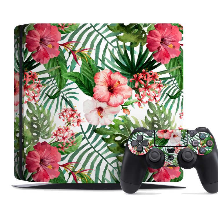TenStickers. Naklejka na PlayStation tropikalne kwiatki i liście. Naklejka na PlayStation z efektywnym nadrukiem dżungli z tropikalnymi kwiatkami i liśćmi. Jeśli jesteś fanem egzotycznych miejsc, ta naklejka jest idealna dla Ciebie!