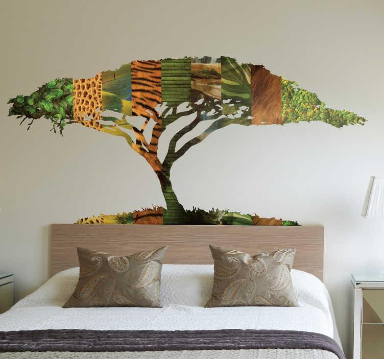 TenStickers. Vinil decorativo árvore selvagem. Transforme a sua sala com este autocolante de parede com a imagem de uma árvore com as famosas cores dos animais mais conhecidos de África.