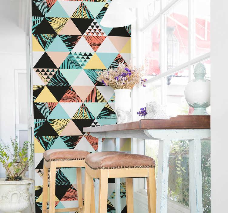 TenStickers. Naklejka na ścianę trójkąty wypełnione kwiatami i roślinami. Naklejka na ścianę, przedstawiająca trójkąty wypełnione teksturami związanymi z dżunglą. Idealna dekoracja dla fanów egzotyki!