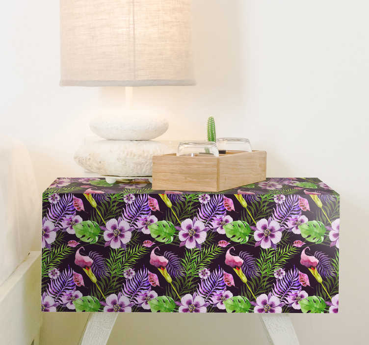 TenVinilo. Vinilo Ikea flora de la selva. Vinilos para muebles con un estamapado floral de inspiración selvática tropical, ideales para personalizar cómodas o armarios.